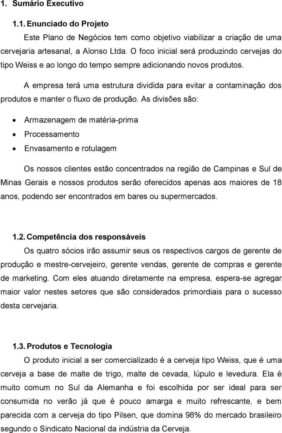 Exemplo de resumo executivo do plano de negócios de microcervejaria